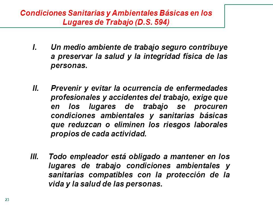 23 Condiciones Sanitarias y Ambientales Básicas en los Lugares de Trabajo (D.S.