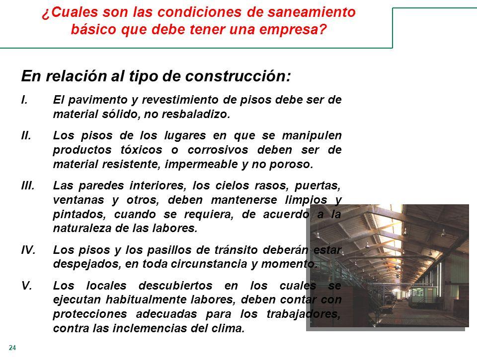 24 ¿Cuales son las condiciones de saneamiento básico que debe tener una empresa? En relación al tipo de construcción: I.El pavimento y revestimiento d
