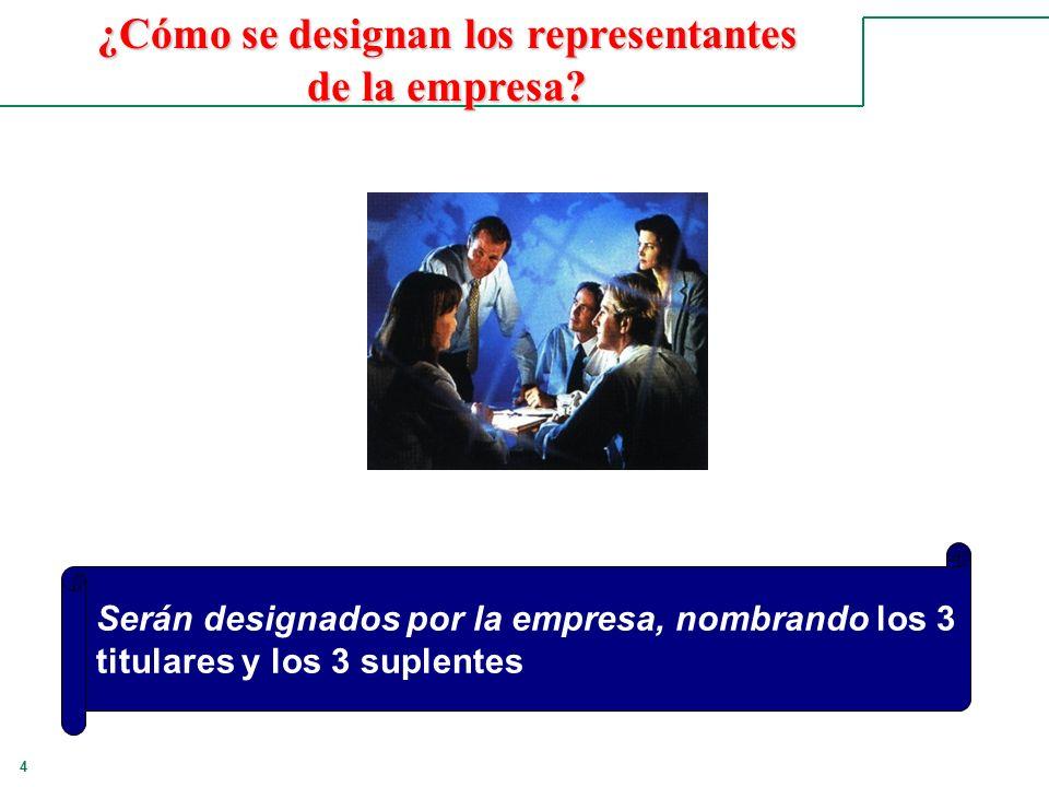 4 Serán designados por la empresa, nombrando los 3 titulares y los 3 suplentes ¿Cómo se designan los representantes de la empresa?