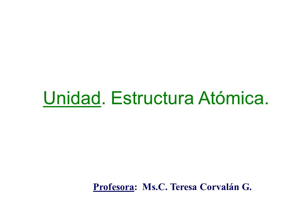 Unidad. Estructura Atómica. Profesora: Ms.C. Teresa Corvalán G.