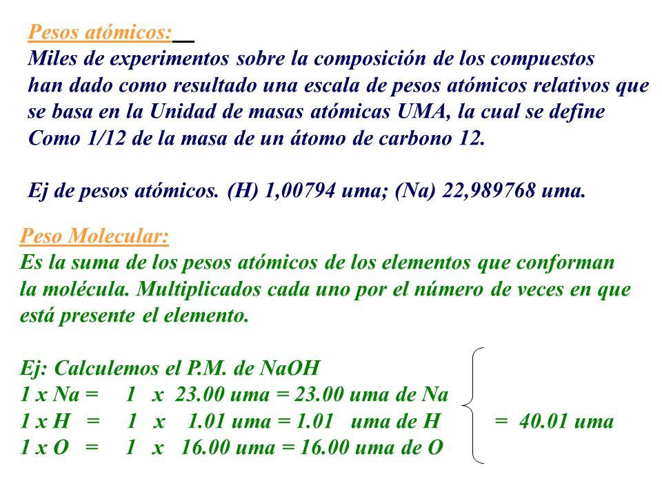 Pesos atómicos: Miles de experimentos sobre la composición de los compuestos han dado como resultado una escala de pesos atómicos relativos que se bas