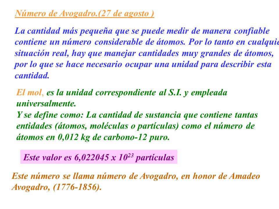 Número de Avogadro.(27 de agosto ) La cantidad más pequeña que se puede medir de manera confiable contiene un número considerable de átomos. Por lo ta