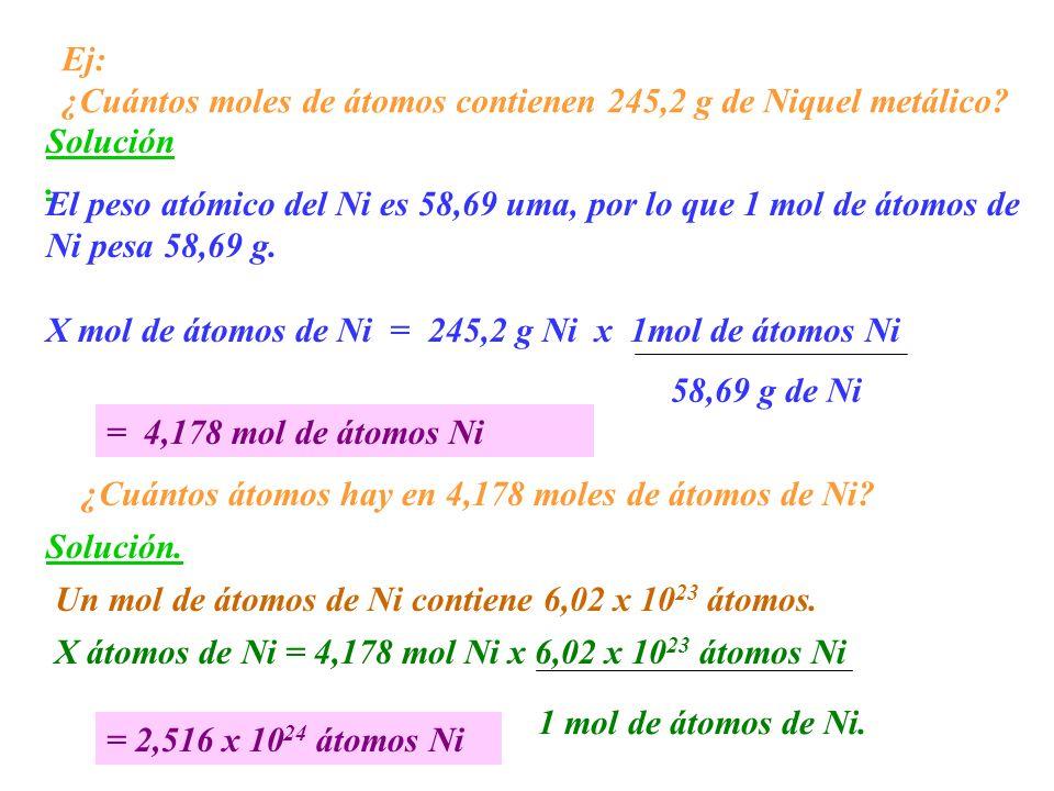 Ej: ¿Cuántos moles de átomos contienen 245,2 g de Niquel metálico? Solución. El peso atómico del Ni es 58,69 uma, por lo que 1 mol de átomos de Ni pes