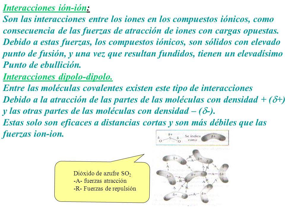 Interacciones ión-ión: Son las interacciones entre los iones en los compuestos iónicos, como consecuencia de las fuerzas de atracción de iones con car