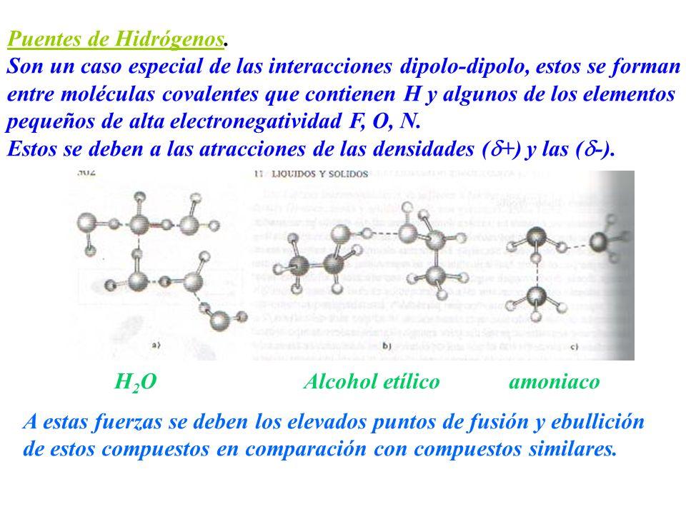 Puentes de Hidrógenos. Son un caso especial de las interacciones dipolo-dipolo, estos se forman entre moléculas covalentes que contienen H y algunos d
