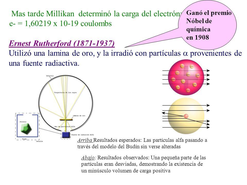 Mas tarde Millikan determinó la carga del electrón: e- = 1,60219 x 10-19 coulombs Ernest Rutherford (1871-1937) Utilizó una lamina de oro, y la irradi