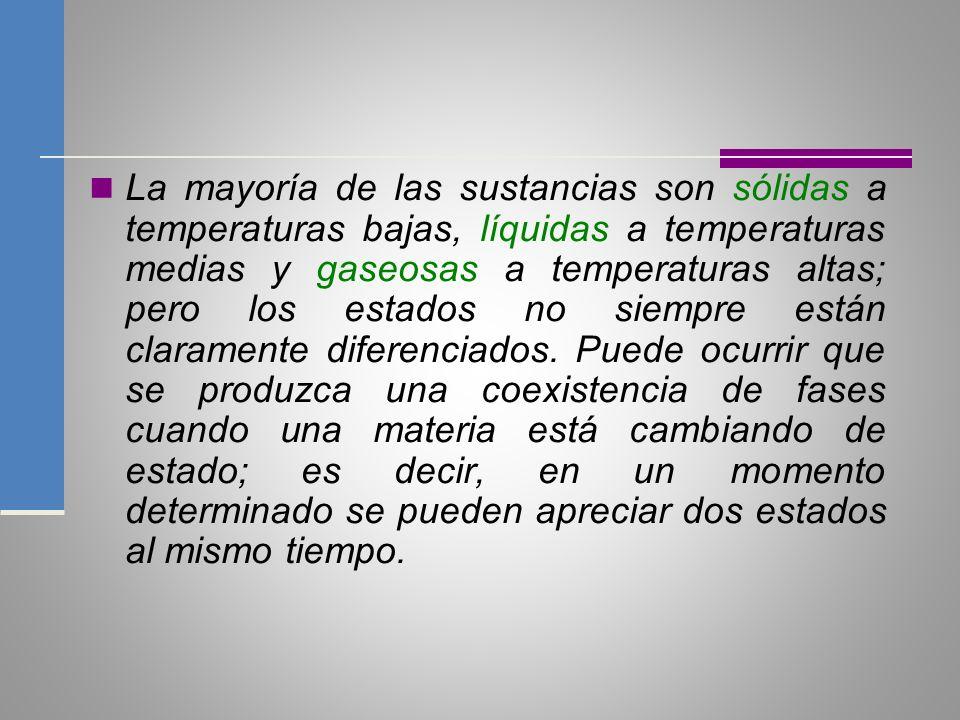La mayoría de las sustancias son sólidas a temperaturas bajas, líquidas a temperaturas medias y gaseosas a temperaturas altas; pero los estados no sie