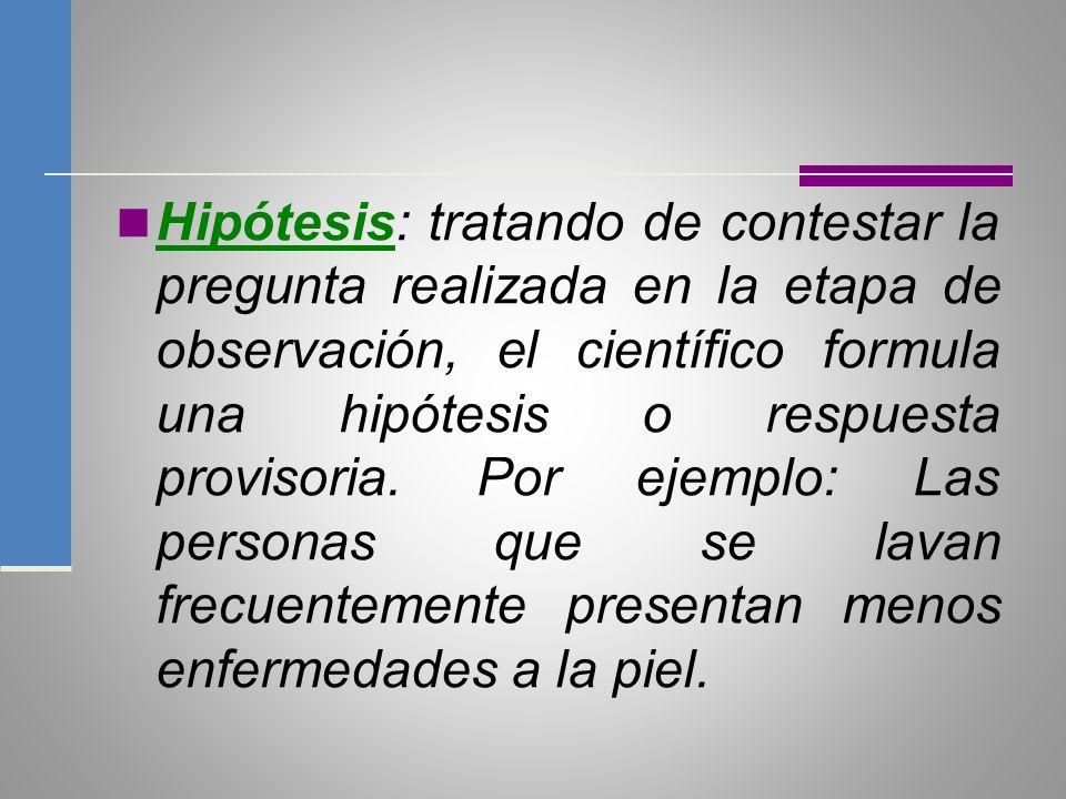 Hipótesis: tratando de contestar la pregunta realizada en la etapa de observación, el científico formula una hipótesis o respuesta provisoria. Por eje