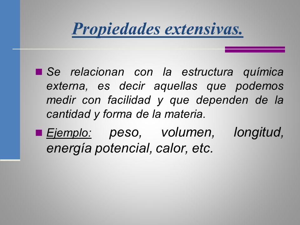 Las propiedades intensivas.Tienen que ver más con la estructura química interna de la materia.