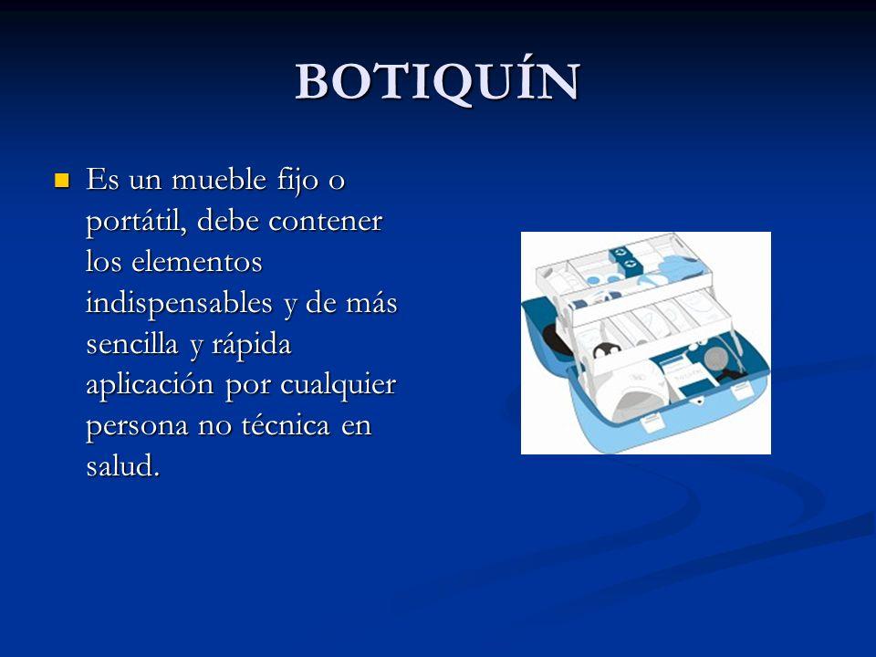 BOTIQUÍN Características: Completo pero no lleno de elementos y medicamentos peligrosos.