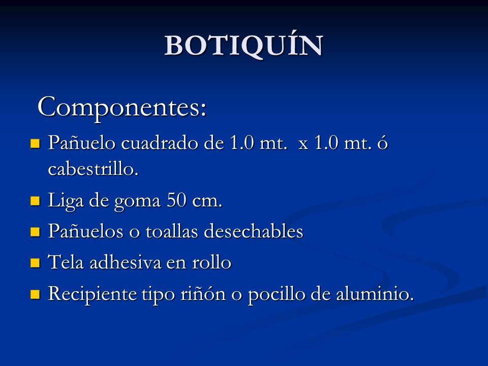 ELEMENTOS ESENCIALES DE UN BOTIQUIN Los elementos esenciales de un botiquín de primeros auxilios se pueden clasificar así: 1.