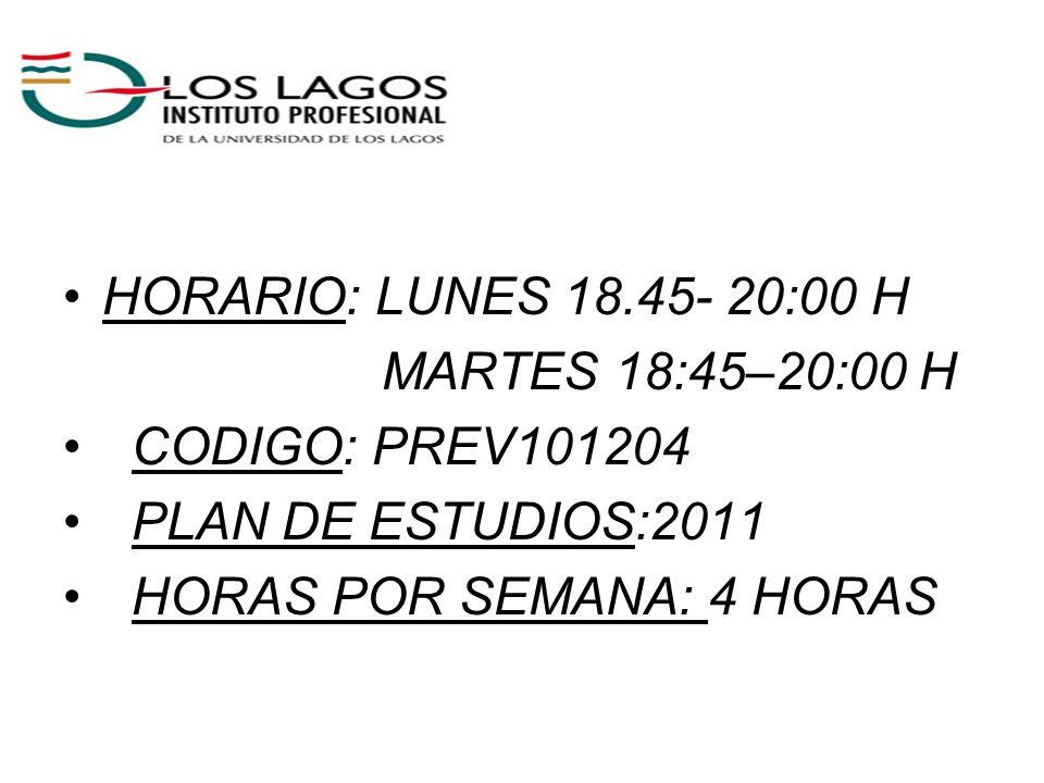 HORARIO: LUNES 18.45- 20:00 H MARTES 18:45–20:00 H CODIGO: PREV101204 PLAN DE ESTUDIOS:2011 HORAS POR SEMANA: 4 HORAS