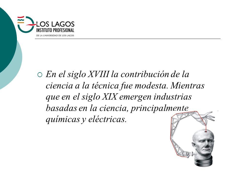 En el siglo XVIII la contribución de la ciencia a la técnica fue modesta. Mientras que en el siglo XIX emergen industrias basadas en la ciencia, princ