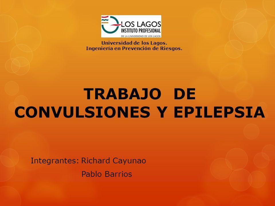TRABAJO DE CONVULSIONES Y EPILEPSIA Integrantes: Richard Cayunao Pablo Barrios Universidad de los Lagos. Ingeniería en Prevención de Riesgos.