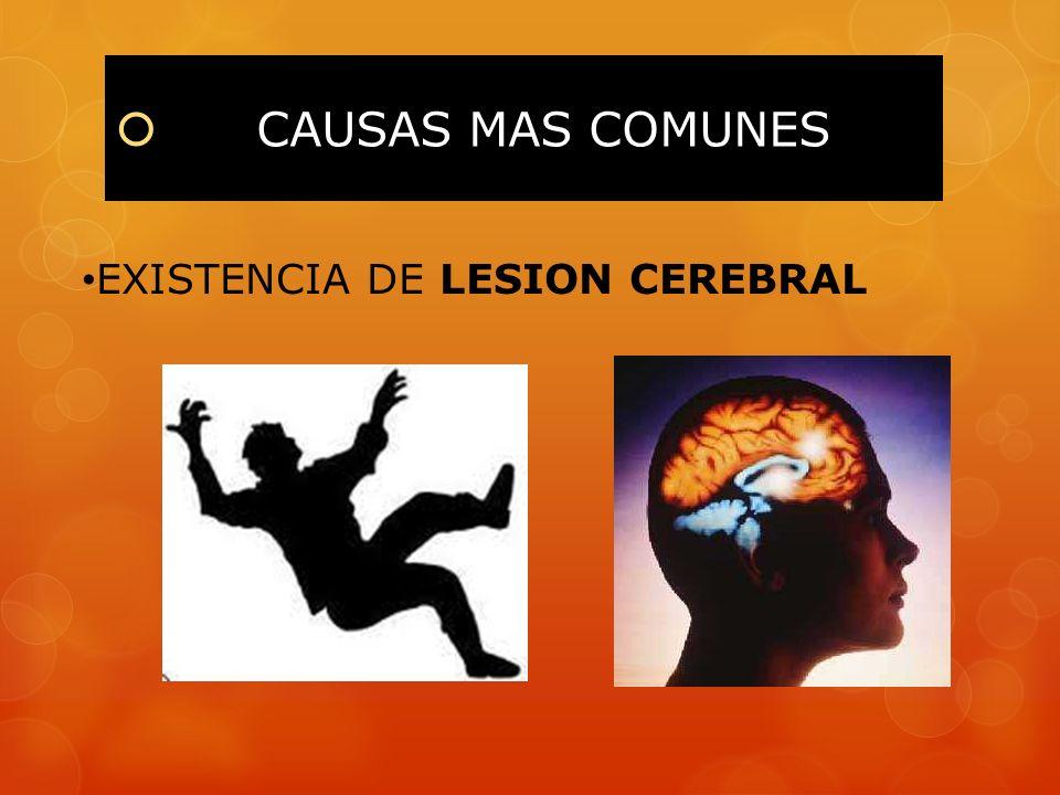 CAUSAS MAS COMUNES EXISTENCIA DE LESION CEREBRAL
