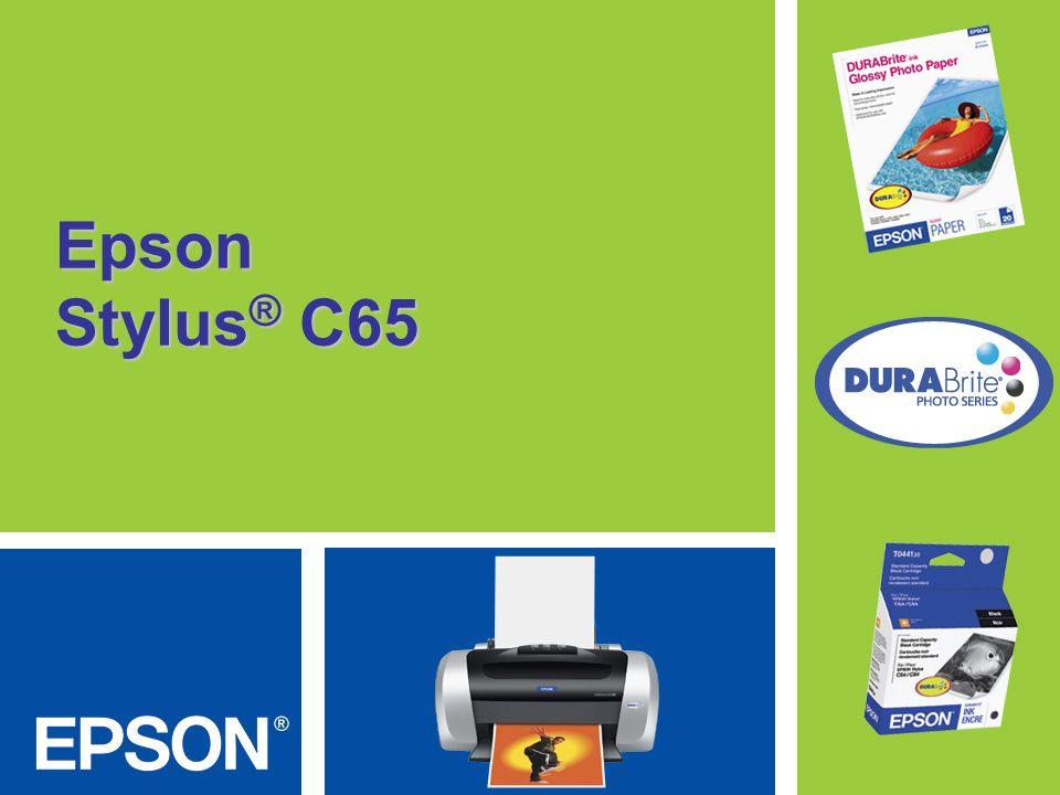 Epson Stylus C65 Impresos brillantes con mayor facilidad Esta impresora asequible y rápida permite a cualquier usuario imprimir en forma brillante instantáneas, texto y mucho más.