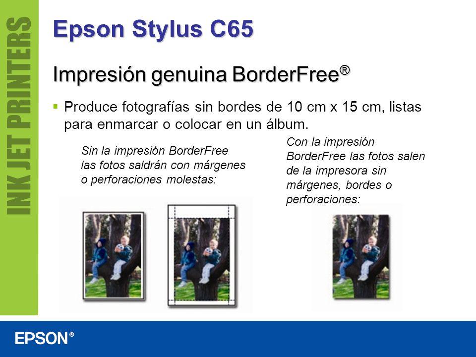 Epson Stylus C65 Produce fotografías sin bordes de 10 cm x 15 cm, listas para enmarcar o colocar en un álbum. Sin la impresión BorderFree las fotos sa