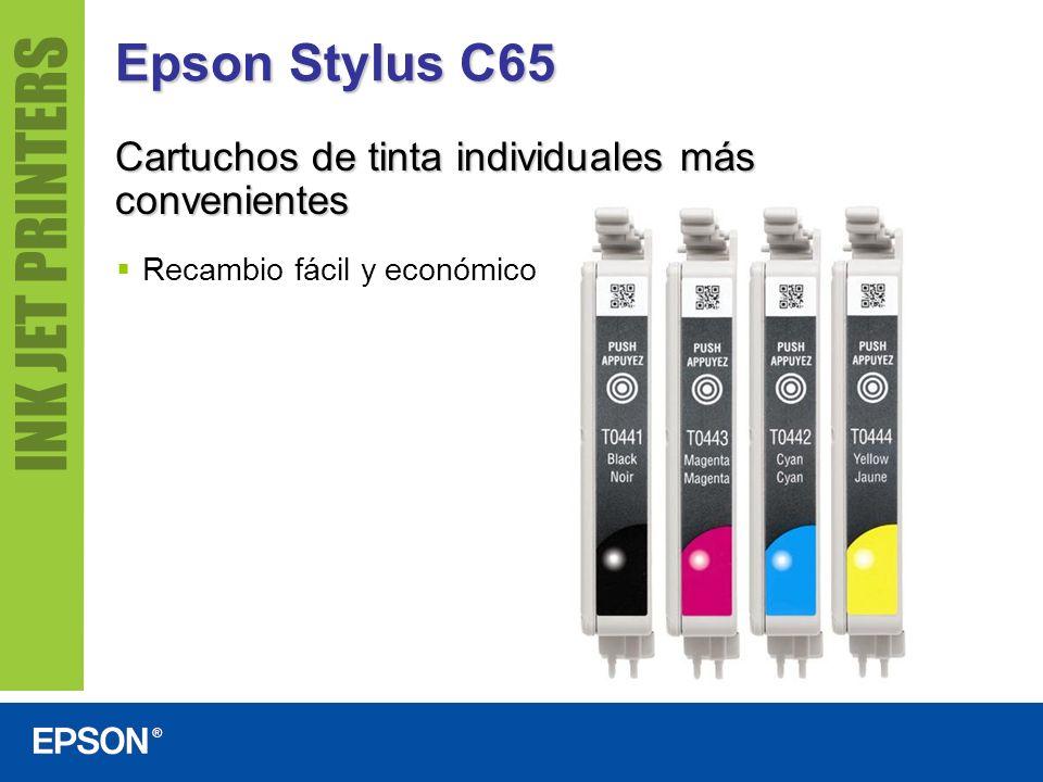 Epson Stylus C65 Cartuchos de tinta individuales más convenientes Recambio fácil y económico