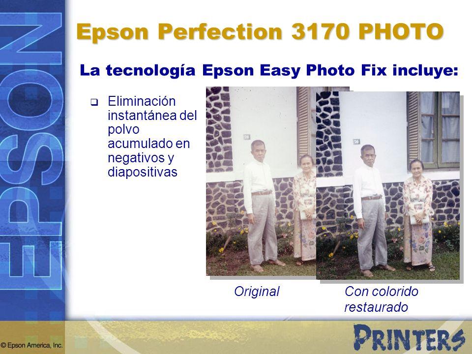 Epson Perfection 3170 PHOTO Eliminación instantánea del polvo acumulado en negativos y diapositivas Original Con colorido restaurado La tecnología Eps