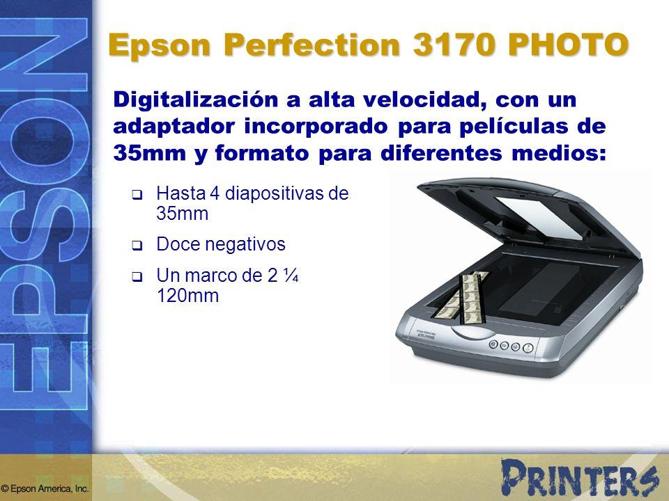 Epson Perfection 3170 PHOTO Digitalización a alta velocidad, con un adaptador incorporado para películas de 35mm y formato para diferentes medios: Has