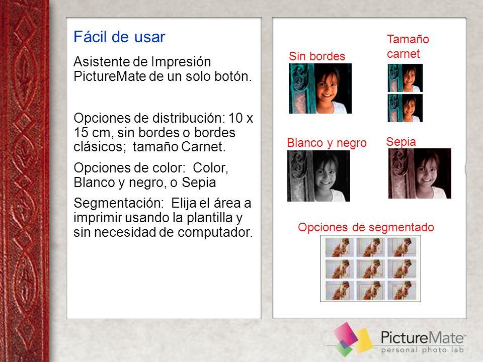 Fácil de usar Asistente de Impresión PictureMate de un solo botón.