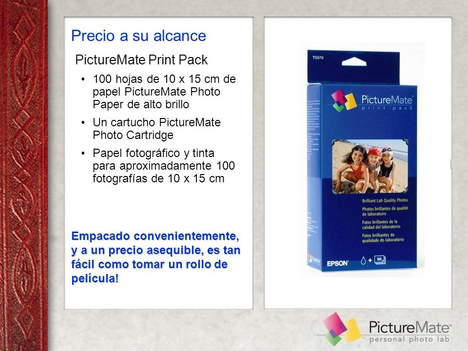 PictureMate Print Pack 100 hojas de 10 x 15 cm de papel PictureMate Photo Paper de alto brillo Un cartucho PictureMate Photo Cartridge Papel fotográfi
