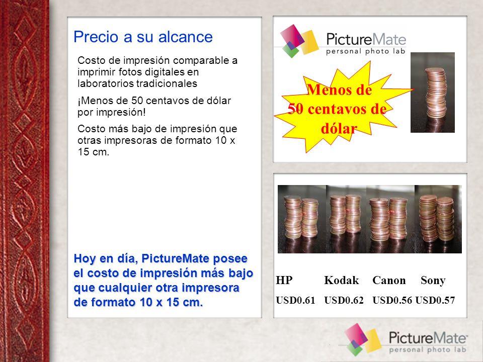 Costo de impresión comparable a imprimir fotos digitales en laboratorios tradicionales ¡Menos de 50 centavos de dólar por impresión.