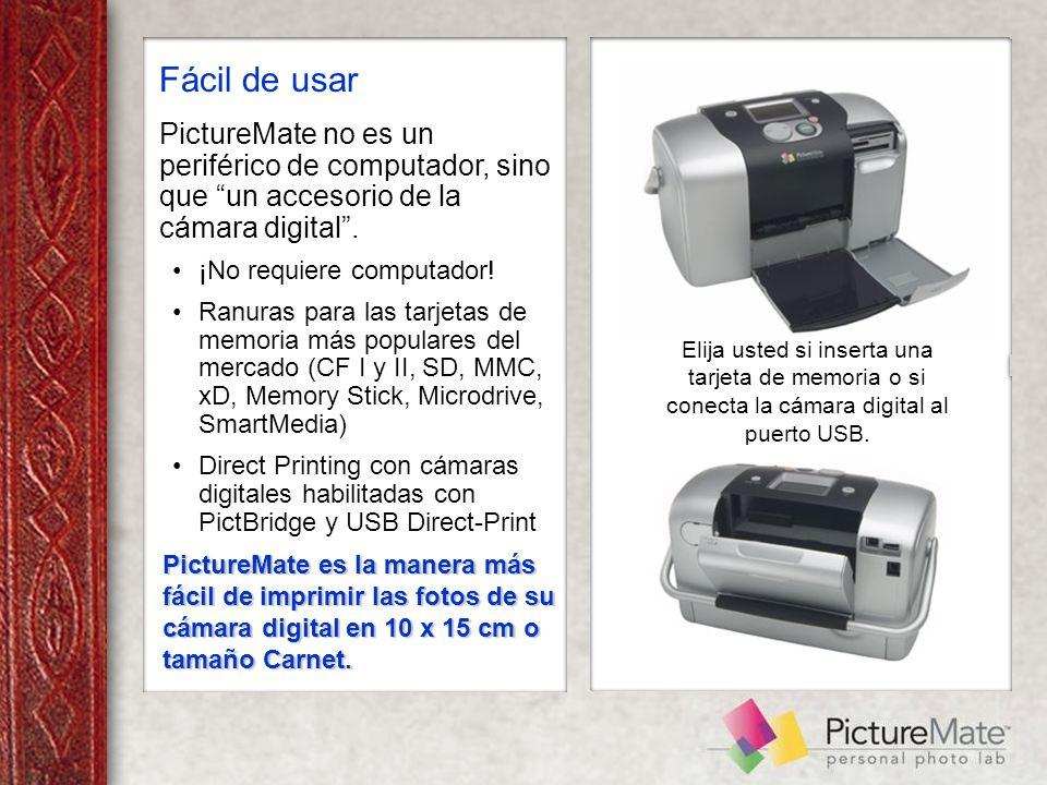 Fácil de usar PictureMate no es un periférico de computador, sino que un accesorio de la cámara digital.