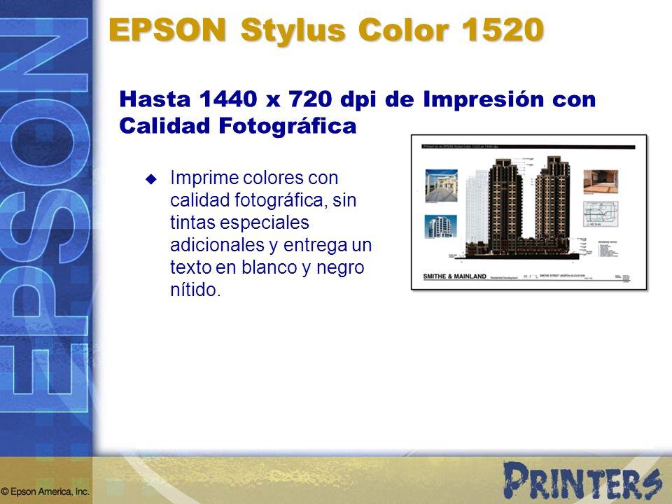 EPSON Stylus Color 1520 Hasta 1440 x 720 dpi de Impresión con Calidad Fotográfica Imprime colores con calidad fotográfica, sin tintas especiales adici