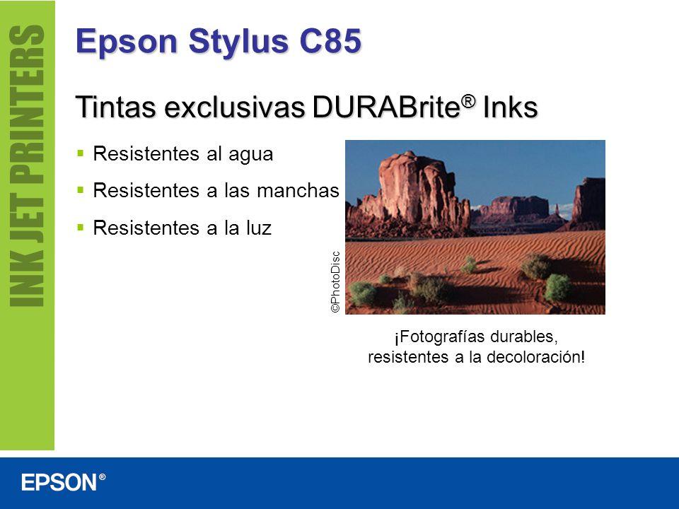 Epson Stylus C85 Resistentes al agua Resistentes a las manchas Resistentes a la luz Tintas exclusivas DURABrite ® Inks ¡Fotografías durables, resisten