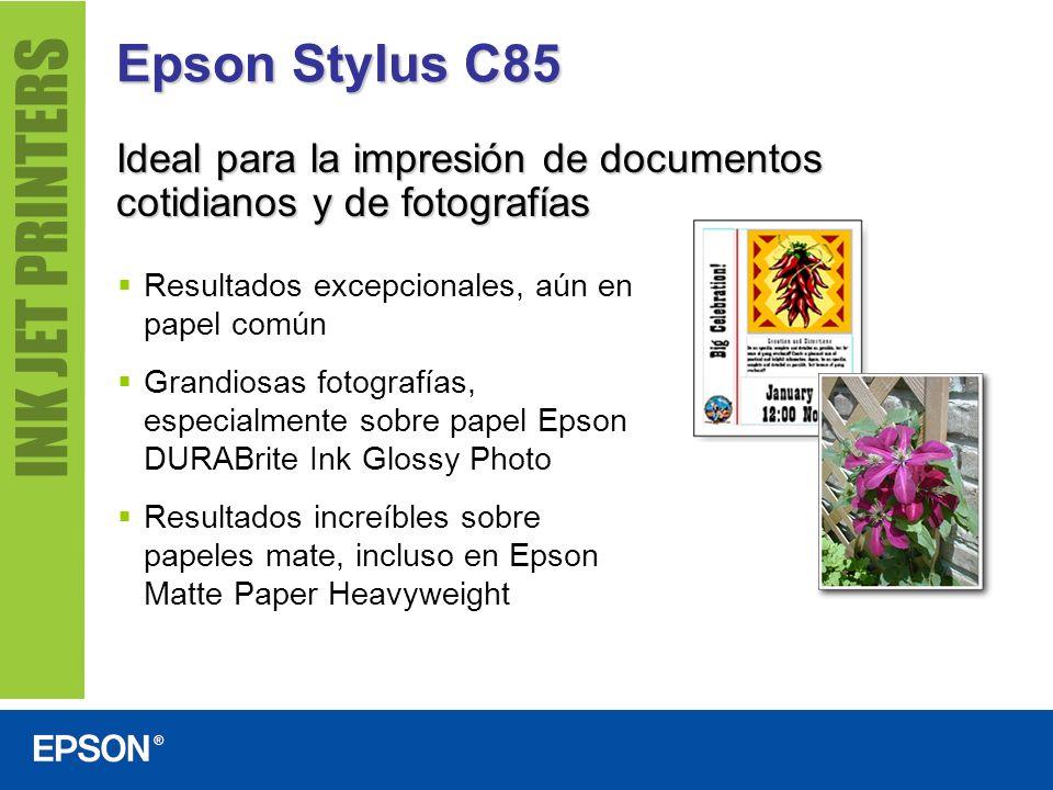 Epson Stylus C85 Ideal para la impresión de documentos cotidianos y de fotografías Resultados excepcionales, aún en papel común Grandiosas fotografías
