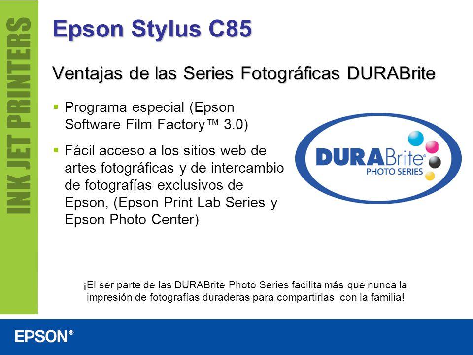 Epson Stylus C85 Imprime fotografías sin bordes en formatos populares, de 10 cm x 15 cm, 13 cm x 18 cm, 20 cm x 25 cm y Carta, listas para enmarcar o colocar en un álbum.