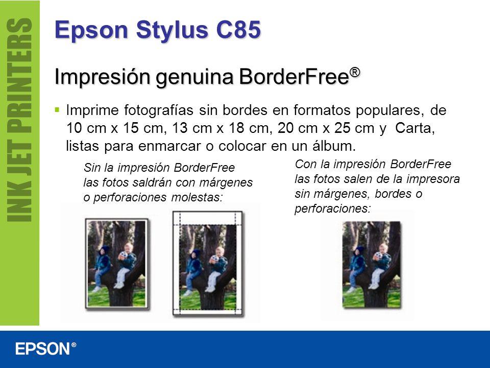 Epson Stylus C85 Imprime fotografías sin bordes en formatos populares, de 10 cm x 15 cm, 13 cm x 18 cm, 20 cm x 25 cm y Carta, listas para enmarcar o