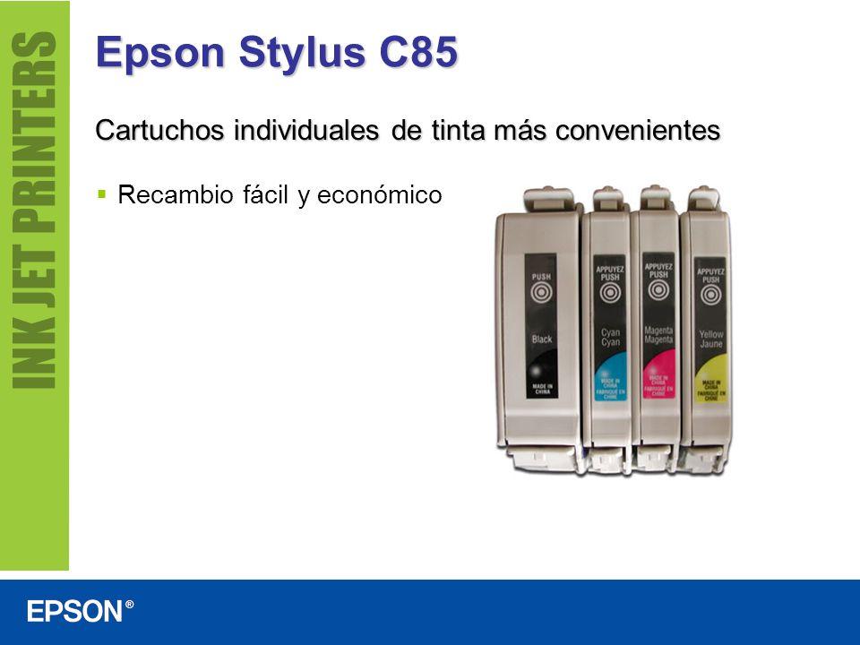 Epson Stylus C85 Cartuchos individuales de tinta más convenientes Recambio fácil y económico