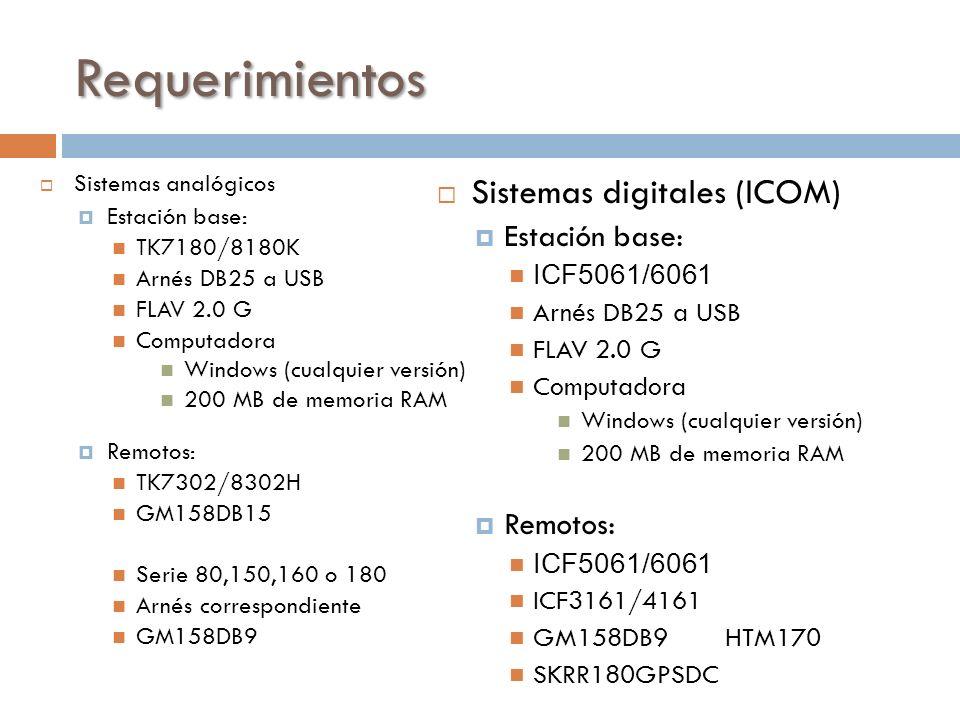 Requerimientos Sistemas analógicos Estación base: TK7180/8180K Arnés DB25 a USB FLAV 2.0 G Computadora Windows (cualquier versión) 200 MB de memoria R
