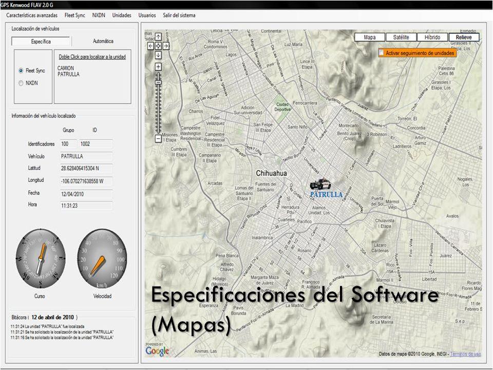 Mapas utilizados Especificaciones del Software (Mapas)