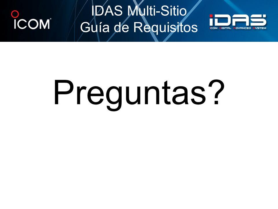 Preguntas? IDAS Multi-Sitio Guía de Requisitos