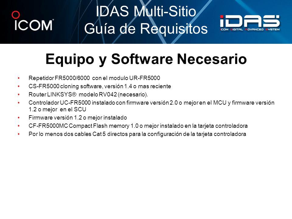 Equipo y Software Necesario Repetidor FR5000/6000 con el modulo UR-FR5000 CS-FR5000 cloning software, versión 1.4 o mas reciente Router LINKSYS® model