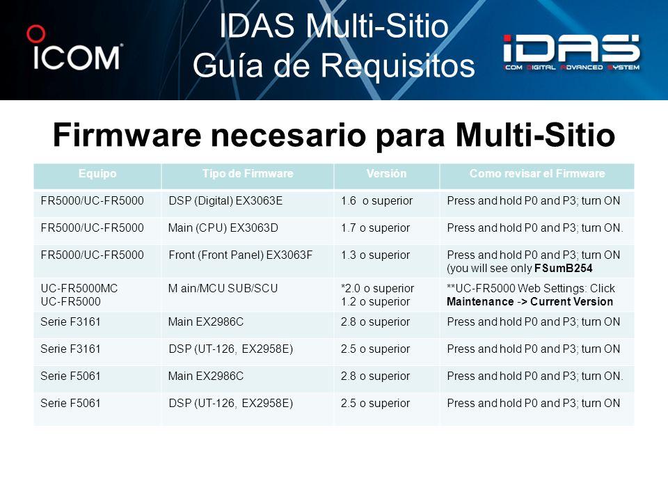 Firmware necesario para Multi-Sitio IDAS Multi-Sitio Guía de Requisitos EquipoTipo de FirmwareVersiónComo revisar el Firmware FR5000/UC FR5000 DSP (Di