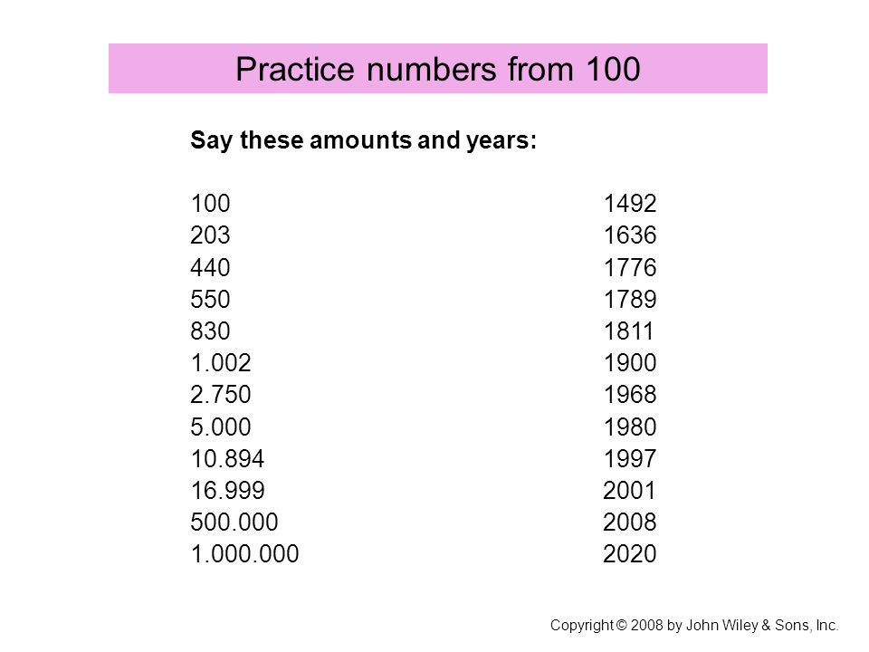 Practice numbers from 100 Copyright © 2008 by John Wiley & Sons, Inc.
