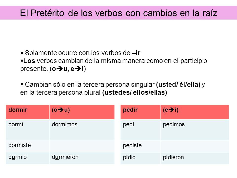 Así se dice: La rutina diariaEl Pretérito de los verbos con cambios en la raíz Solamente ocurre con los verbos de –ir Los verbos cambian de la misma m