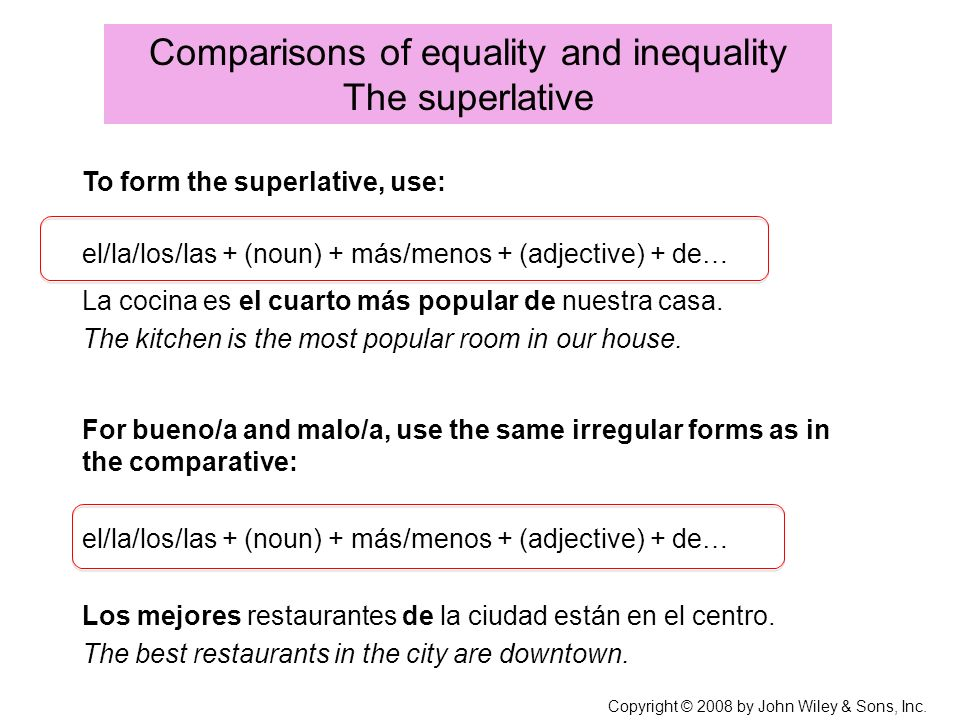 Copyright © 2008 by John Wiley & Sons, Inc. Comparisons of equality and inequality The superlative To form the superlative, use: La cocina es el cuart