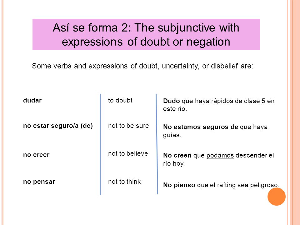 Así se forma 2: The subjunctive with expressions of doubt or negation dudar no estar seguro/a (de) no creer no pensar to doubt not to be sure not to believe not to think Dudo que haya rápidos de clase 5 en este río.