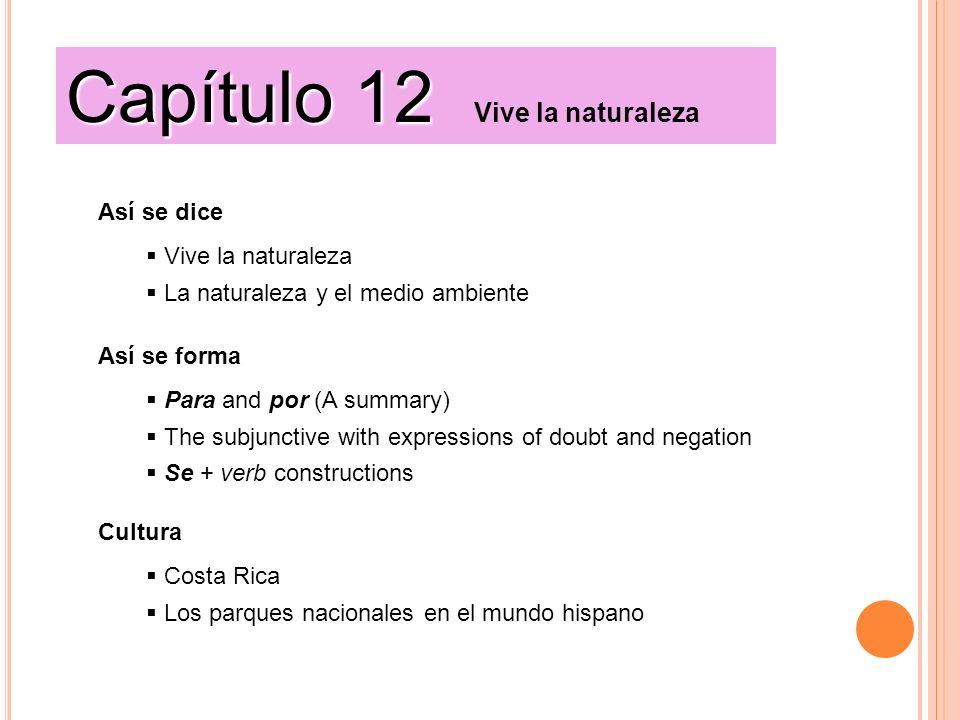 Así se dice Vive la naturaleza La naturaleza y el medio ambiente Cultura Costa Rica Los parques nacionales en el mundo hispano Así se forma Para and p