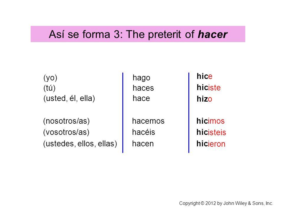 (yo) (tú) (usted, él, ella) (nosotros/as) (vosotros/as) (ustedes, ellos, ellas) Copyright © 2012 by John Wiley & Sons, Inc. Así se forma 3: The preter