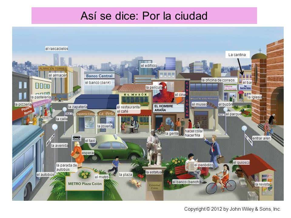 Así se dice: Por la ciudad Responde a las siguientes preguntas con base en la ilustración.