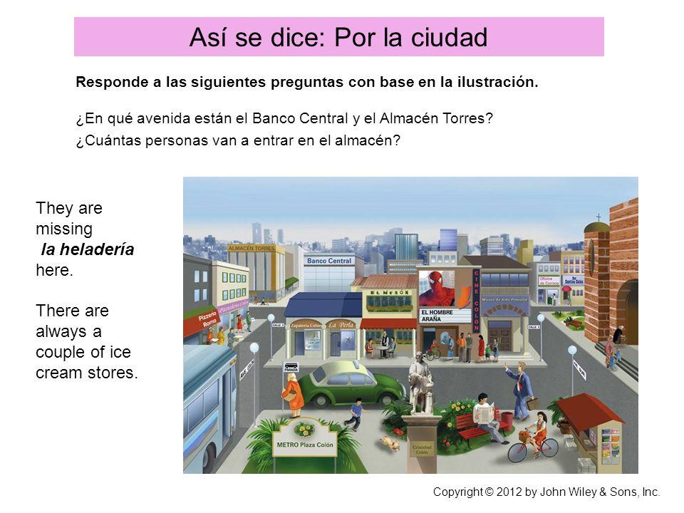 Así se dice: Por la ciudad Responde a las siguientes preguntas con base en la ilustración. ¿En qué avenida están el Banco Central y el Almacén Torres?