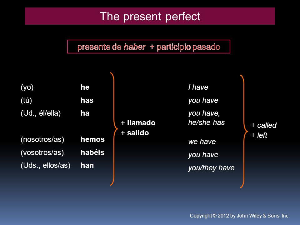 he has ha hemos habéis han + llamado + salido I have you have you have, he/she has we have you have you/they have + called + left The present perfect (yo) (tú) (Ud., él/ella) (nosotros/as) (vosotros/as) (Uds., ellos/as) Copyright © 2012 by John Wiley & Sons, Inc.