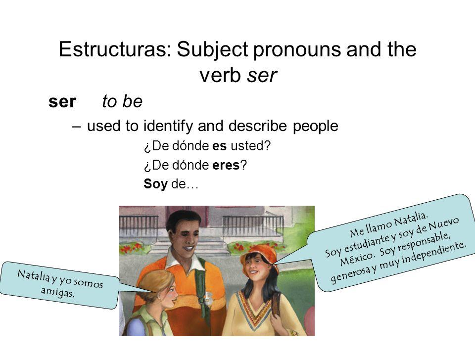 Estructuras: Subject pronouns and the verb ser ser to be –used to identify and describe people ¿De dónde es usted? ¿De dónde eres? Soy de… Natalia y y