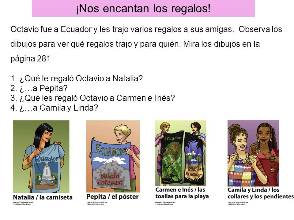 ¡Nos encantan los regalos! Octavio fue a Ecuador y les trajo varios regalos a sus amigas. Observa los dibujos para ver qué regalos trajo y para quién.